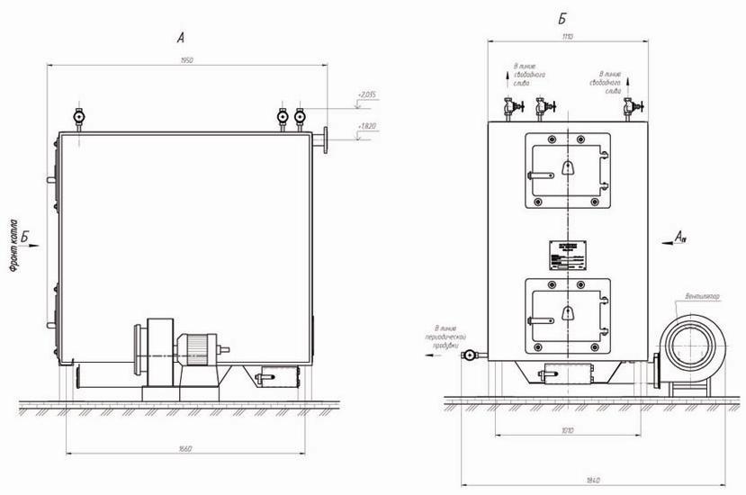 Водогрейный котел на дровах КВр-0,3 КД.  Схема.