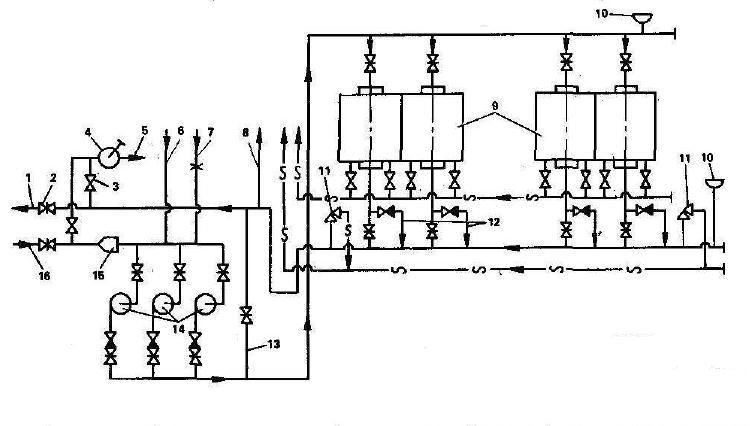 Монтажная схема сетевых трубопроводов котельной с водогрейными котлами КВ.