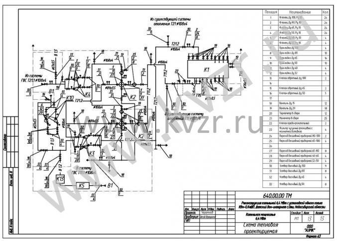 Схема тепловая проектируемая.